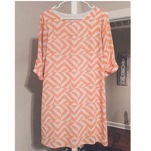 Peach + White Geometric Print Sheath Dress